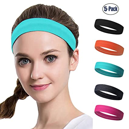 DASUTA Set of 5 Women s Yoga Sport Athletic Headband for Running Sports  Travel Fitness Elastic Wicking Non Slip Lightweight Multi Style Bandana  Headbands ... 24671e92fbe