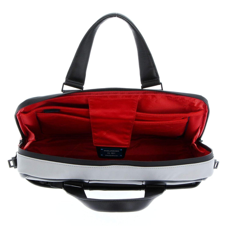 Piquadro Notebook väska läder 43 cm Grau_dunkelgrau, Grau