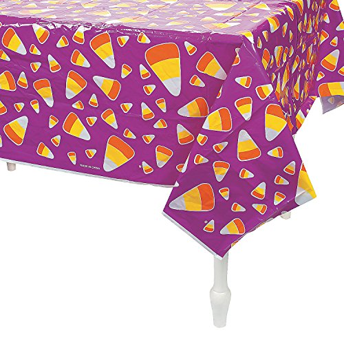 Fun Express - Candy Corn Tablecloth for Halloween - Party Supplies - Table Covers - Print Table Covers - Halloween - 1 Piece]()