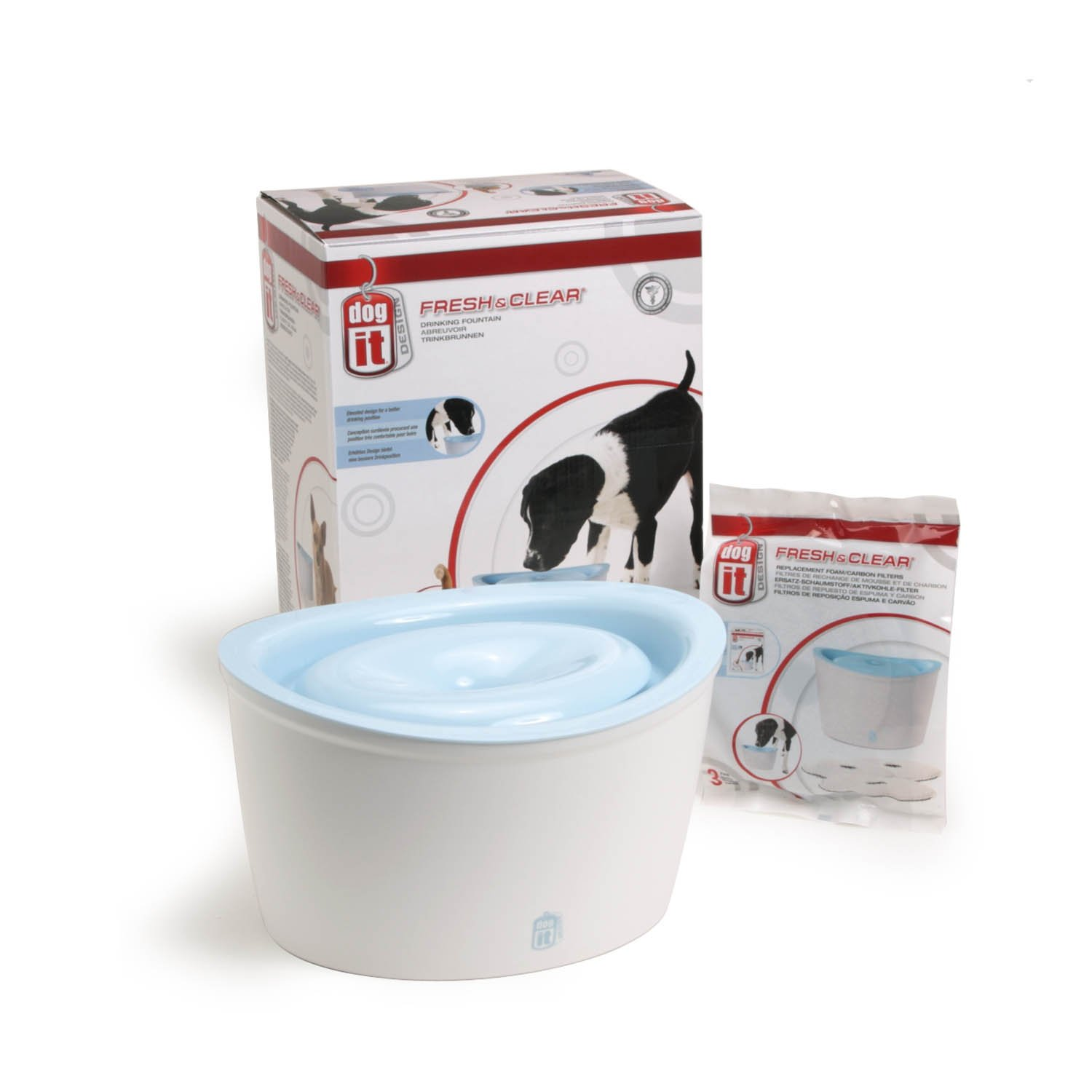 Dogit Design Fresh and Clear Dog Drinking Fountain Value Bundle