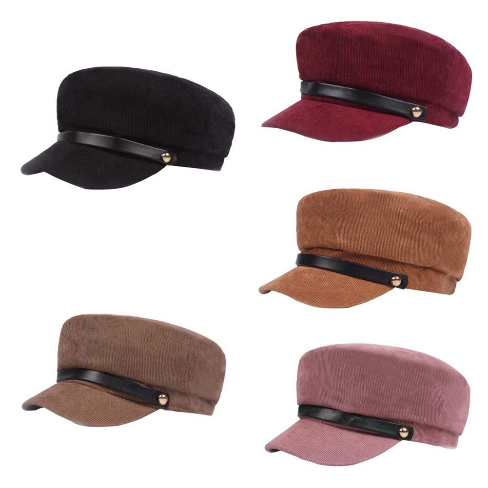 ANLUQIRIYON Sombreros de Boina para Mujer Pana de Hombres ...