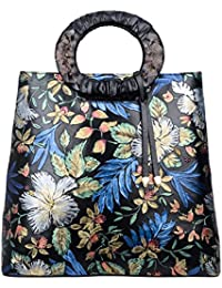 Designer Floral Purses Women's Top Handle Handbag Leather Tote Bag