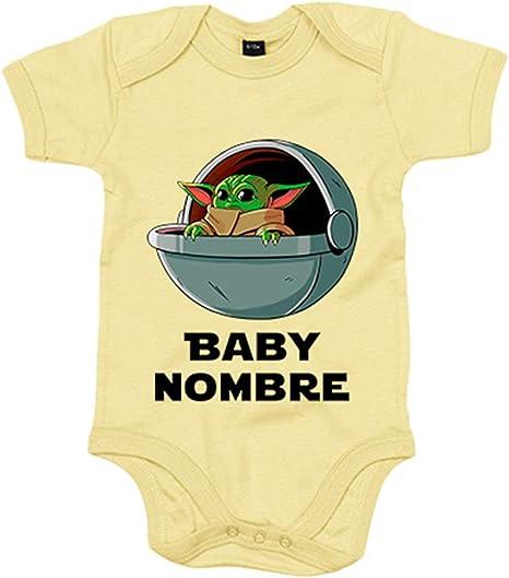 Body bebé personalizable con nombre del bebé ilustración baby yoda con cuna flotante - Amarillo, 6-12 meses: Amazon.es: Bebé