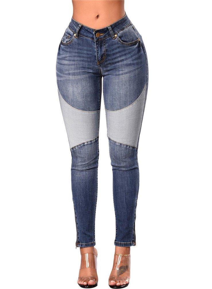 LeaLac Women's High Waisted Denim Patchwork Stretch Skinny Curvy Indigo Jeans L74-P786004 Blue XL