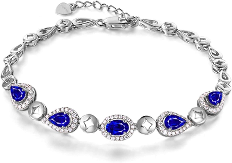 Daesar Pulsera de Mujer Oro Blanco 18K Zafiro Diamante Gotas 17 CM Pulsera de Mujer