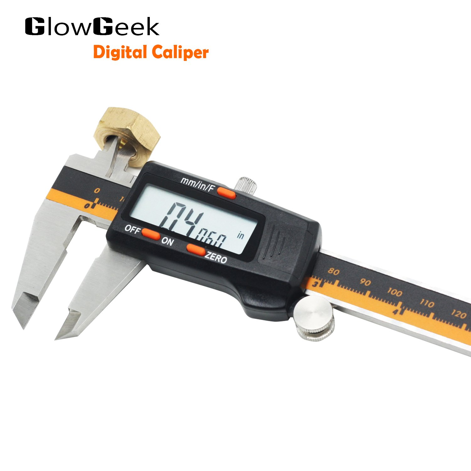 GlowGeek Electronic Digital Caliper Inch/Metric/Fractions Conversion 0-6 Inch/150 mm Stainless Steel Body Orange/Black Extra Large LCD Screen Auto Off Featured Measuring Tool by GlowGeek (Image #8)