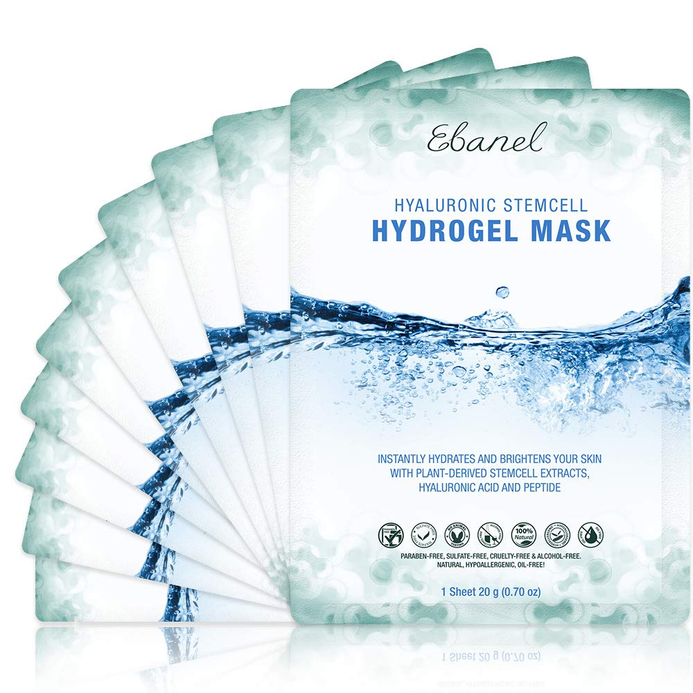 Ebanel 10-Pack Hydrogel Collagen Mask for Face, Instant Brightening Hydrating Face Mask Sheet Mask for Firming, Lifting Anti Aging Anti Wrinkle with Hyaluronic Acid, Peptide, Aloe Vera, Vitamin C & E
