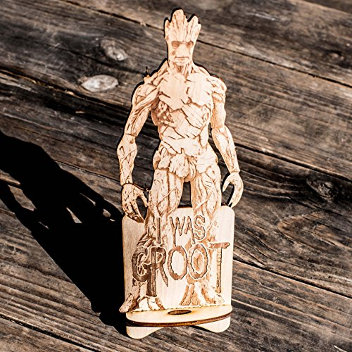 Phone Charging Station - I Was Groot - Raw Wood