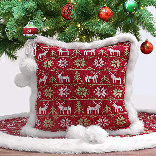 Valery Madelyn Red Green White Knitted Christmas Pillow Covers with Pom Pom Balls and Faux Fur, 18x18 Inch, Themed with Tree Skirt (Not Included)