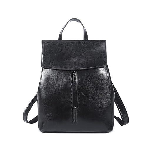 46604650a6 MTA Leather Casual Backpack Shoulder Bag Travel Rucksack Bag for Women  Girls (Black)
