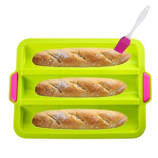 KeepingcooX® - Molde de silicona antiadherente para pan, 3 ollas ...