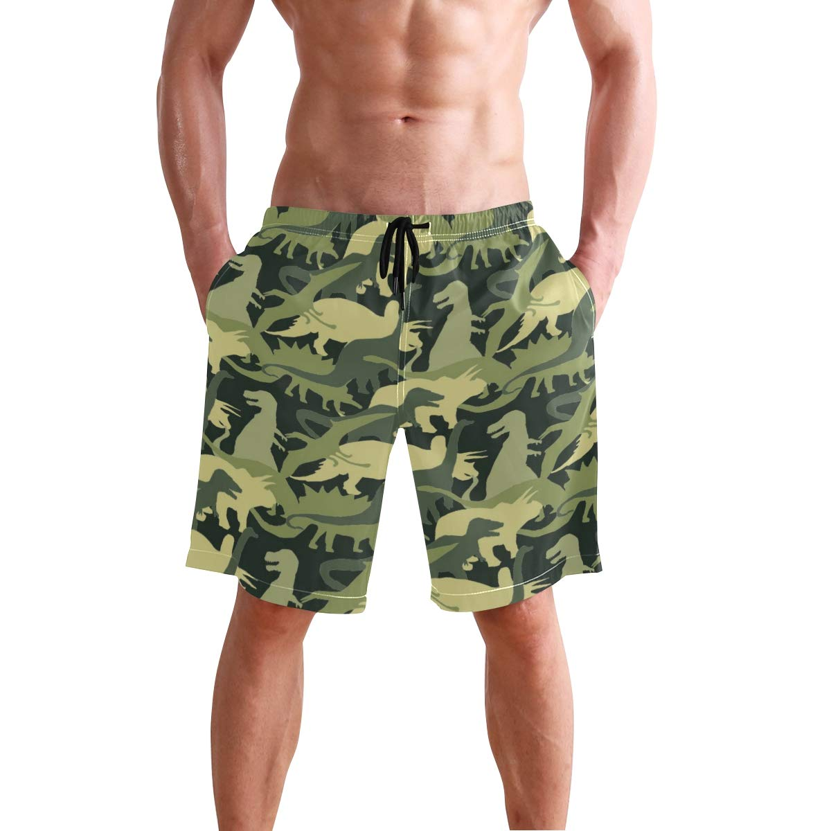 Aluys boutique Mens Swim Trunks Quick Dry Dinosaur Pattern Printed Holiday Beach Board Shorts with Mesh Lining