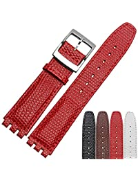 GUANQIN 17mm Wommen's Calfskin Leather WatchBand For Swatch YCS YAS YGS Watch (17 mm, red)