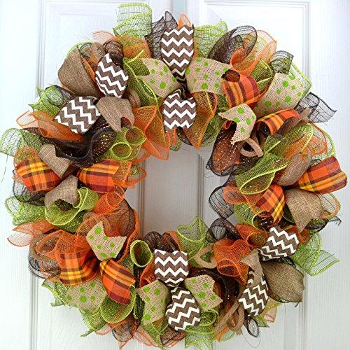 Fall Deco Mesh Wreaths   Thanksgiving Door Wreath; Brown Green Burlap Orange White : F1