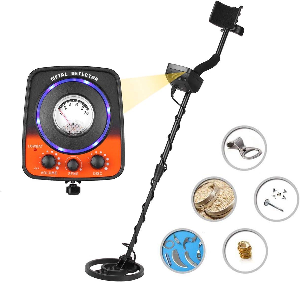 MOIMK Detector de Metales para los niños/Adultos, Disc y Ajustable Función de sensibilidad Alta sensibilidad Buscador de Oro con Pantalla LCD: Amazon.es: Deportes y aire libre