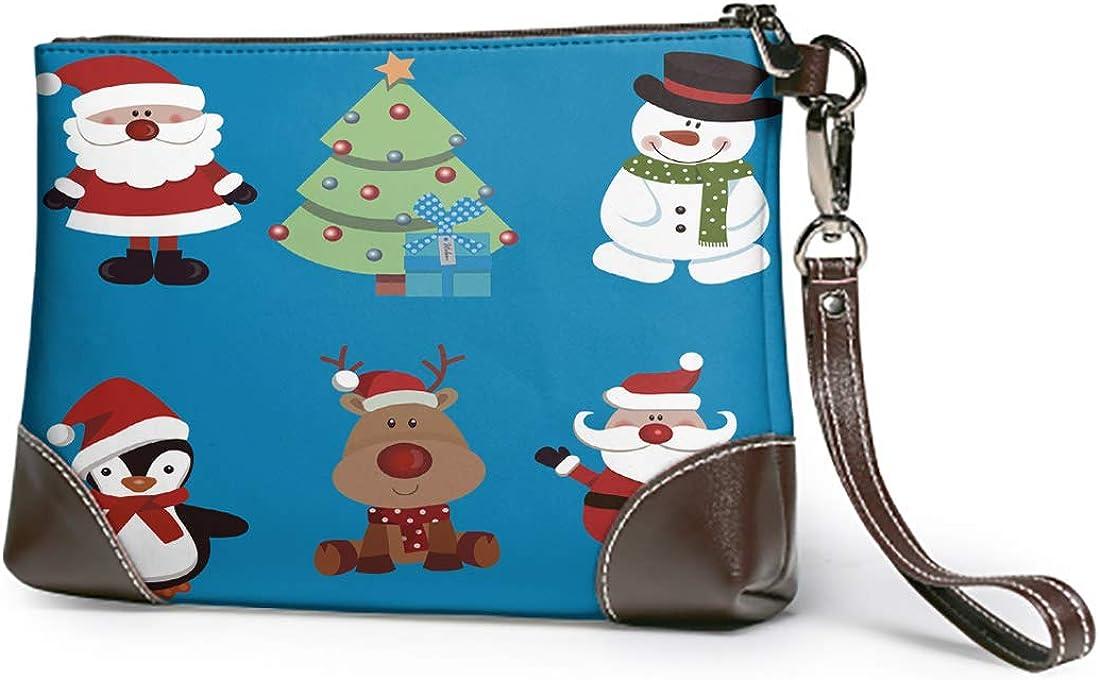Emvency Wristlet Wallet Zipper Christmas Santa Claus Penguin Tree Lightweight Small Clutch Phone Wristlet Wallet with Strap for Women Man