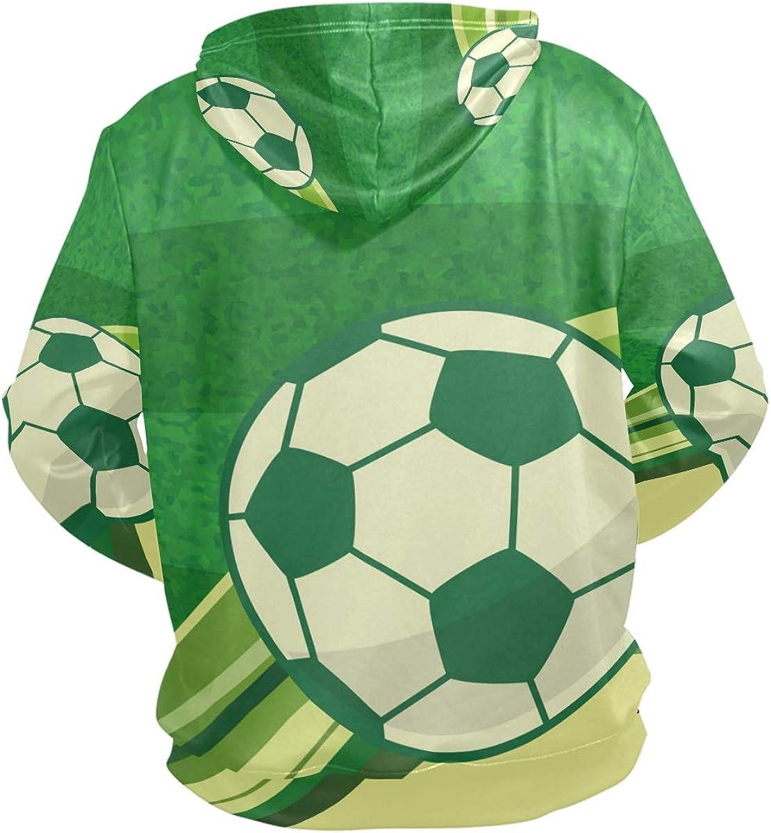 Zip Up Hoodie Soccer Ball Sports Hooded Sweatshirt for Men