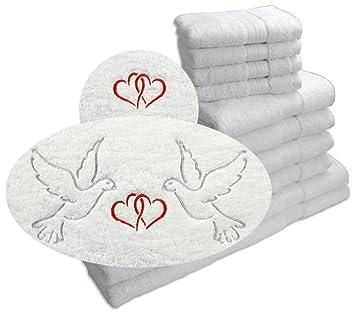 Juego de toallas de mano Harti Promoline Jade Blanco con Edlen erstklassigen boda bordados (palomas