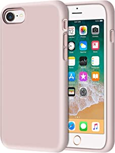 "Anuck iPhone SE 2020 Case, iPhone 8 Case, Non-Slip Liquid Silicone Gel Rubber Bumper Case Soft Microfiber Lining Hard Shell Shockproof Full-Body Protective Case Cover for iPhone 7/8/SE 4.7"" Pink Sand"
