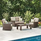 Hampton Bay Tacana 4-Piece Wicker Patio Deep Seating Set with Beige Cushions