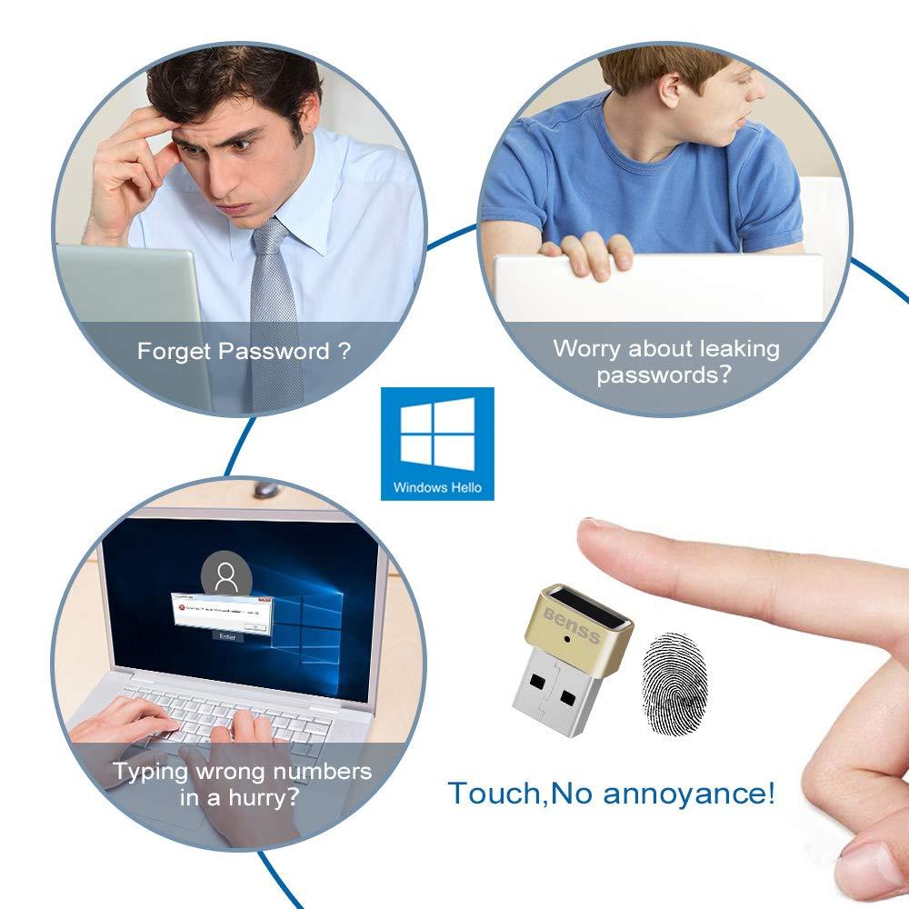 Benss Lector de Huellas Digitales, Mini USB Fingerprint Reader para Windows 7 8 8.1 10 Hello, sin necesidad de un controlador, para computadora portátil ...
