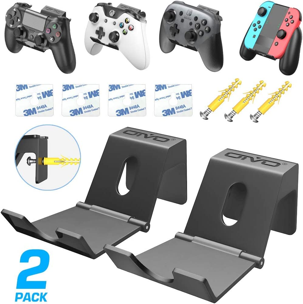 Controller Wall Mount Holder for PS3/PS4/PS5/Xbox 360/ One/S/X/Elite/Series S/Series X Controller, Nintendo Pro Controller, Wall Hanger with Foldable Design for Game Controller&Headphones -2 PACK