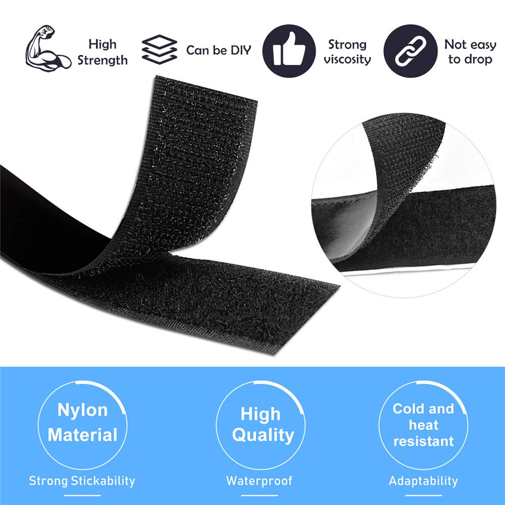 Self Adhesive Hook and Loop Strips Black 4Inch 6.6ft x 4in Roll TOPtoper 4 Inch Wide 6.6 Ft Long Sticky Back Hook and Loop Fasteners