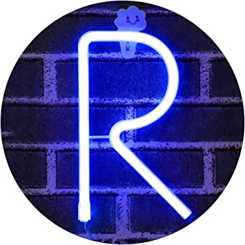 Light Up Letters for Wall Decor, Neon Art Light Letters of The Alphabet Marry Me Decorations for Bedroom, Living Room, Wedding Party-blue Letter R