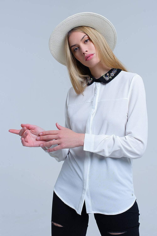 Q2 Camisa Blanca con Cuello Adornado con Strass Mujer: Amazon.es: Ropa y accesorios