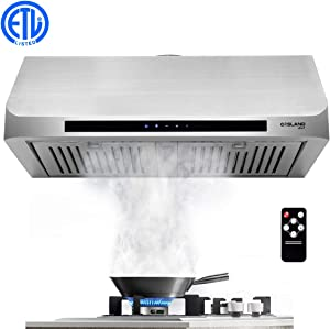 """30"""" Built-in Range Hood, GASLAND Chef UC30SS Stainless Steel Under Cabinet Range Hood, 3 Speed 450 CFM, Touch Screen Remote Control, Dishwasher Safe Baffle Filters, LED Lamps"""