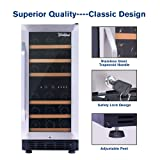Worthyeah 15 Inch Wine Cooler Dual Zone Built-in or Freestanding Compressor Wine Refrigerator with Double-Layer Tempered Glass Door,Child Safety Lock and Compressor Protection Grid