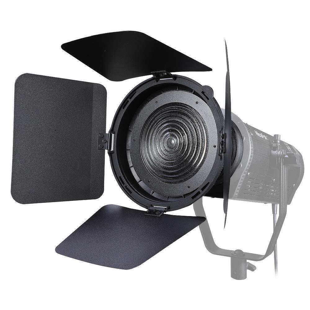 NiceFoto FD-110 Fresnel Lens LED Video Light Focusing Adjuster Floodlight 45° Spotlight 17° with Lights Honeycomb Grids Barn Doors for Aputure Nicefoto and Other Bowen-S Mount by NiceFoto