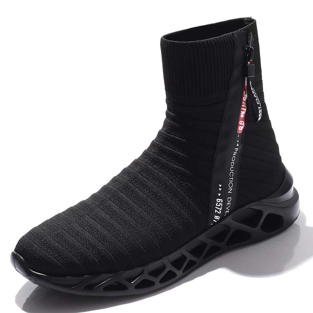 YAN Zapatos De Los Hombres Tejer Otoño  Invierno Calcetines Elásticos Zapatos Zapatillas De Alta Top Mocasines Y Slip-Ons Casual/Diario Zapatos para Caminar,A,44