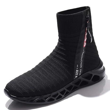 YAN Zapatos De Los Hombres Tejer Otoño & Invierno Calcetines Elásticos Zapatos Zapatillas De Alta Top