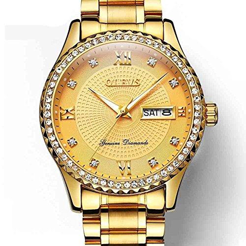 Diamond Quality Watch (OLEVS Swiss Brand Watch Luxury Men Watches Diamond Rose Gold Case Mens Quartz Wristwatches Stainless Steel Auto Date Sport Wrist Watches Water Resistant Luminous Business Male Clock Golden)
