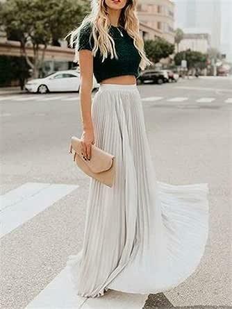 Haucalarm Falda plisada Maxi, falda sólida de cintura alta para ...