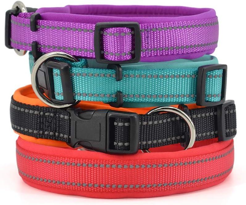 Pumila Hundehalsband Verstellbare Weiches Nylon Neopren Gepolstert Hunde Halsband Reflektierend Atmungsaktiv Halsband