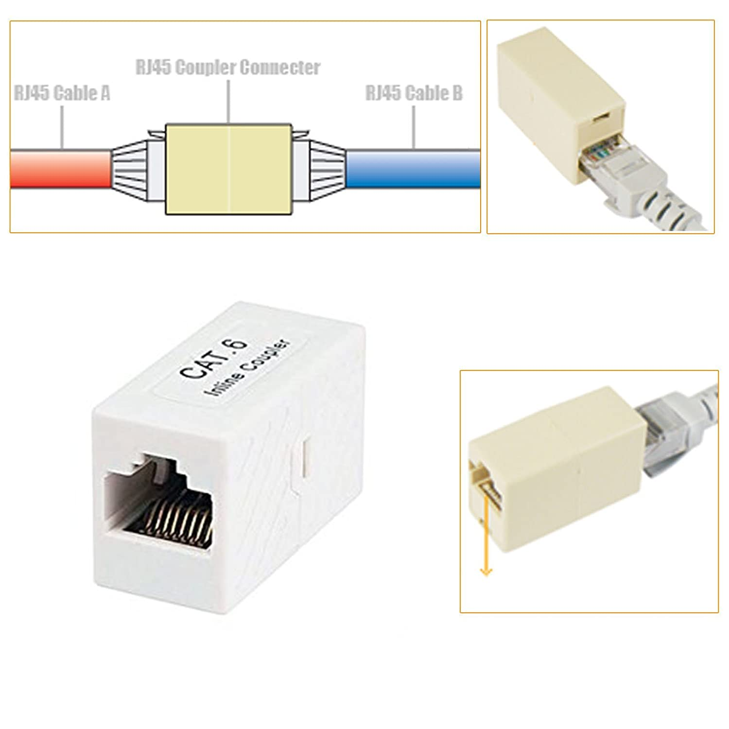 Wiring Diagram Rj11 To Rj45 Coupling Libraries Connectors Modular Amazon Com Imbaprice Premium Coupler Cat6 Ethernet Cableamazon