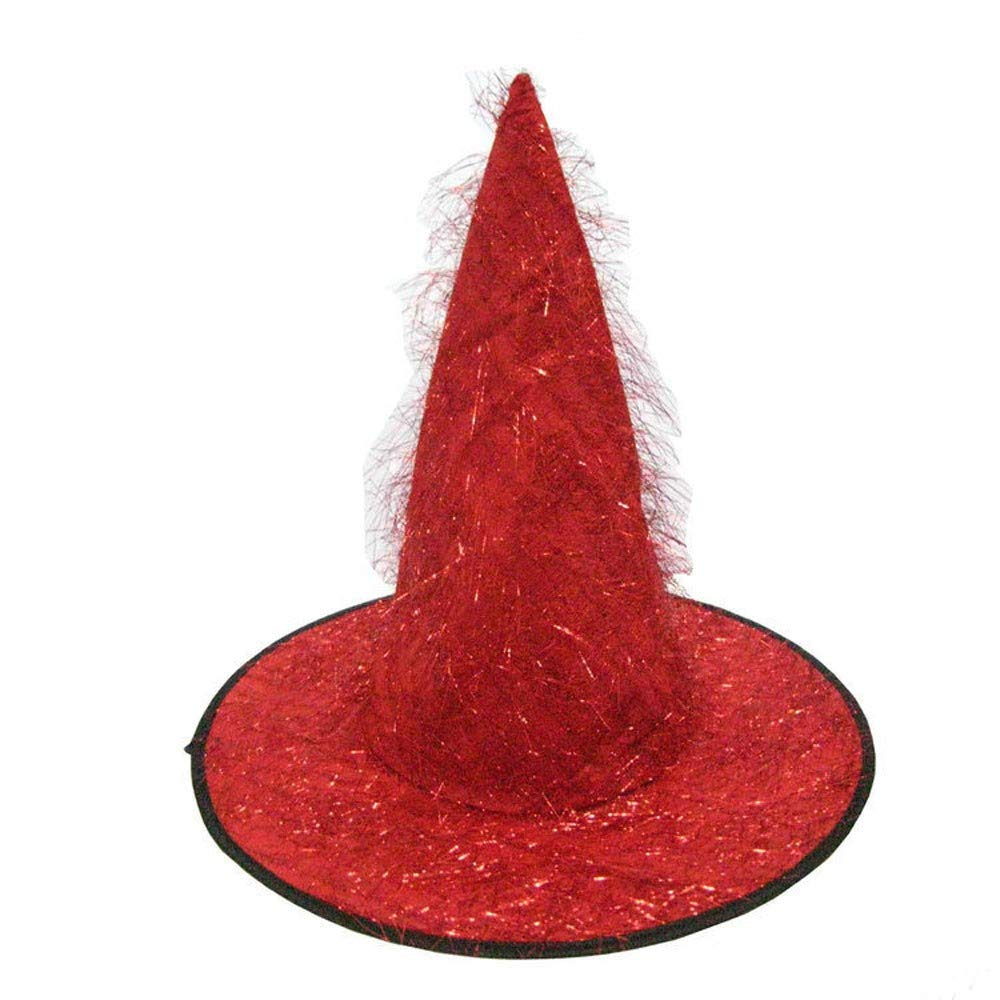 Exteren Adult Womens Mens Witch Hat for Halloween Costume Accessory Fluff Solid Cap Hat Organizer (Red)