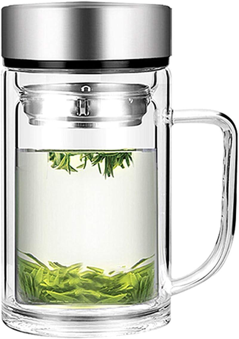 Office Glass Infuser Bottle Tea Tumbler Double Wall Glass Borosilicate Bottle Travel Mug Leakproof Tea Bottle with Strainer Carry Handle For Loose Leaf Tea,Water 13 OZ/380ML