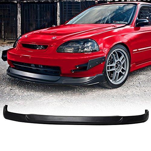 Front Bumper Lip Fits 1996-1998 Honda Civic All Models Type Concept Unpainted Black Spoiler Splitter Valance Fascia Cover Guard Protection Conversion by IKONMOTORSPORTS | 1997
