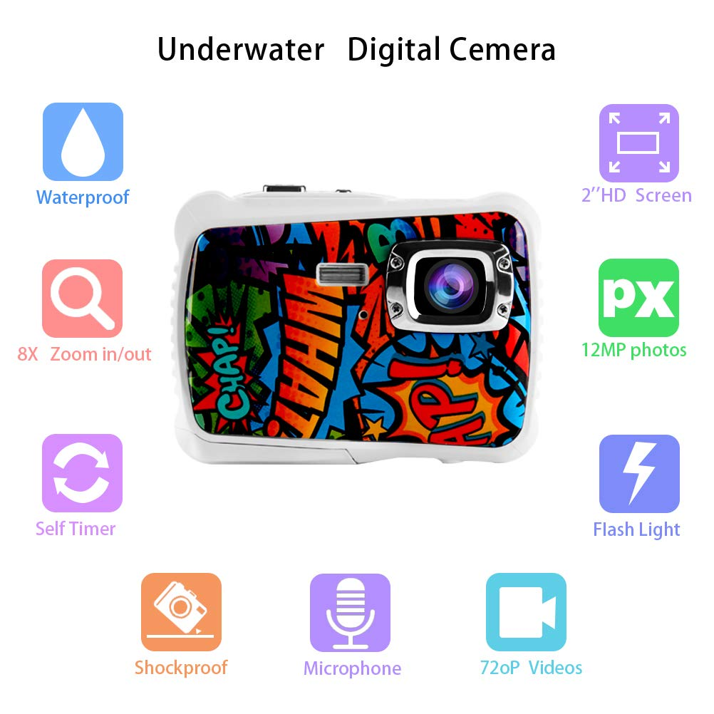 Poogig 【2019 Newest Kids Camera】 Kids Camera, Waterproof Digital Camera for Children, 12MP HD Underwater Camcorder with 3M Waterproof, 2.0 Inch LCD Screen, 8X Digital Zoom, Flash Mic and 8G SD Card by Poogig (Image #4)