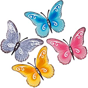 Metal Butterfly Wall Decor, 3D Hand-painted Multicolor Butterflies Wall Art, Indoor And Outdoor Hanging Decoration - 9.5x7 Inches, 4 Pack
