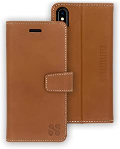SafeSleeve EMF Protection Anti Radiation iPhone Case: iPhone X and iPhone Xs RFID EMF Blocking Wallet Cell Phone Case (Leather)