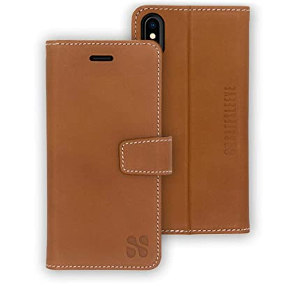 new concept 9d2a5 d849a SafeSleeve Anti Radiation RFID iPhone Case: iPhone X and iPhone Xs ELF & RF  Blocking Identity Theft Protection Wallet (Leather - Brown)