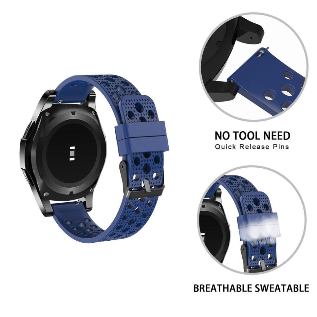 Men Women Watch Strap for Samsung Gear S3 Frontier Classic - Silicone Bracelet Adjustable Strap Watch Band Mesh For Samsung Gear S3 Frontier Classic 22mm 7 Color (Blue)