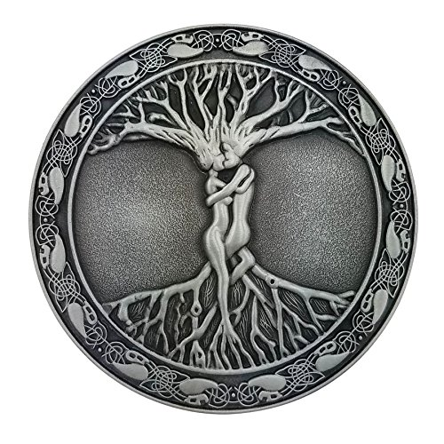 Lanxy Silver Tone Celtic Tree Of Life Roots Branches Round Belt Buckle For Mens
