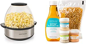 Nostalgia SP660SS 6-Quart Stainless Steel Stirring Speed Popcorn Popper with Theater Hot Air & Kettle Popcorn Kit