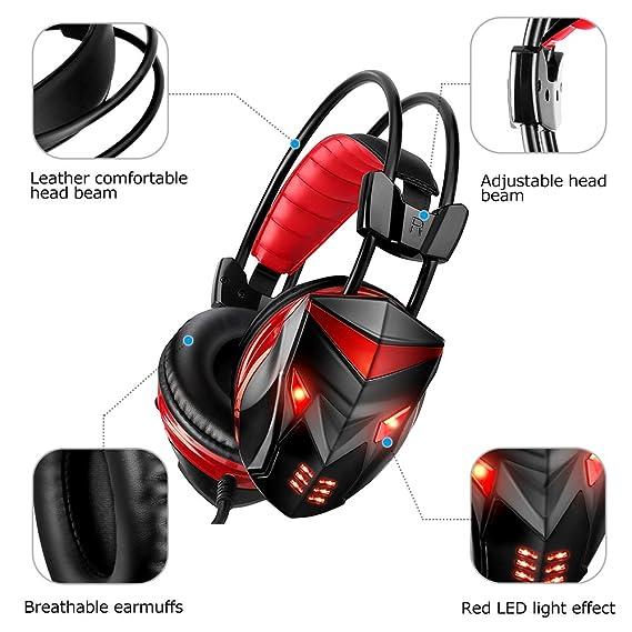 POSUGEAR Auriculares Gaming, Cascos de Diadema Cerrados con LED, micrófono, Control Remoto Integrado y 3.5mm Jack Cancelación De Ruido Compatible con PC ...