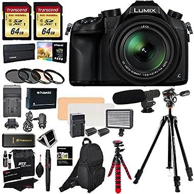 Panasonic Lumix DMC-FZ1000 4K QFHD/HD 16X Long Zoom Digital Camera (Black) + 64GB U3 SDXC X2 + Vanguard Tripod + Shotgun Mic + LED Light Kit + Spare Battery and Charger + Case + Extra Accessories